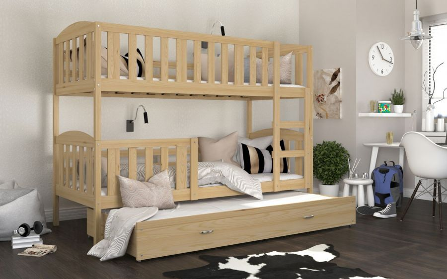 Patrová postel Kubus - borovice pro tři